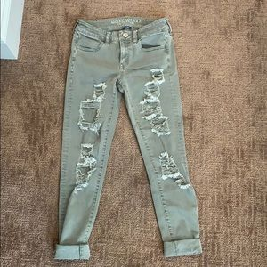 American Eagle green ripped jeans